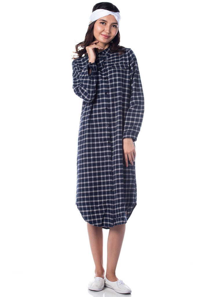 Blau Grun Oversized Plaid Shirt Dress