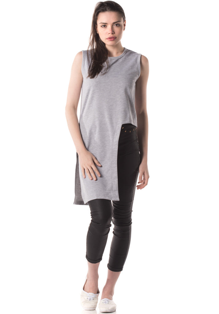 Kozo Evy Asymmetrical Cropped Top (Grey)