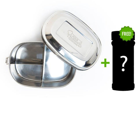 1 x Stainless Steel Snack Container x3 compartments + Free Seasoning Jar
