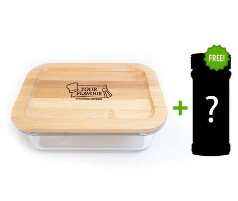 1 X Bamboo Wood Glass Lunch Box  1000ml + Free Seasoning Jar