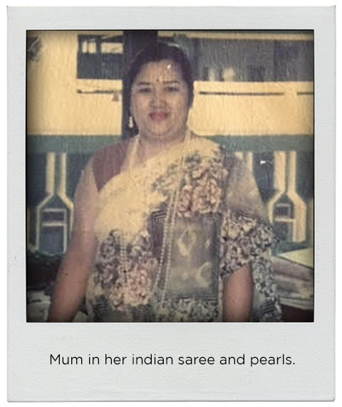Mum in her indian saree & pearls.