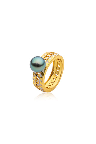 Moana Ring | Tahitian Pearl Ring | Shahana Jewels