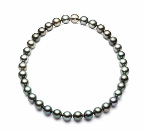 Cathy strand - A stunning strand of pearls in peacock overtones, with a stainless steel ball clasp studded with a line of cubic zirconia stones.