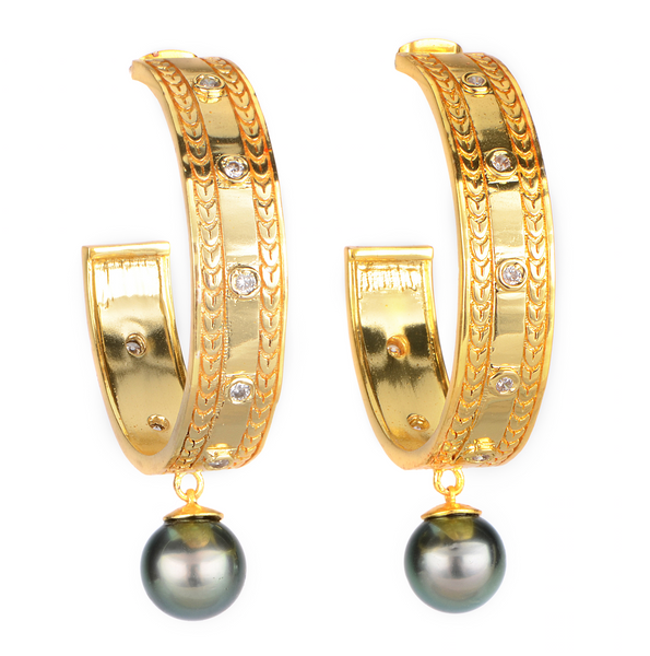 Aroha Hoops | Large Pearl Earrings | Shahana Jewels
