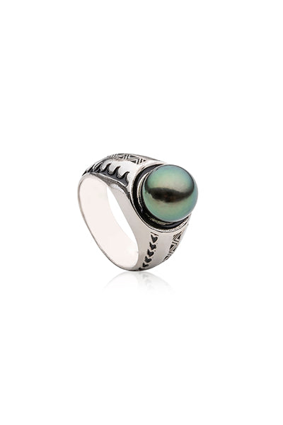 Tama Men's Ring | Tahitian Pearl Ring | Shahana Jewels