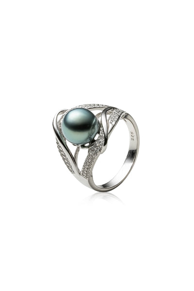 Tina Ring | Tahitian Pearl Ring | Shahana Jewels