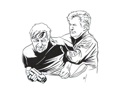 Drawing of Alec Baldwin battling