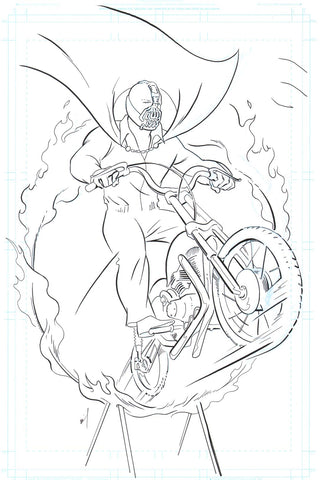 Bane jumping through a flaming hoop on a motorcycle original ink drawing