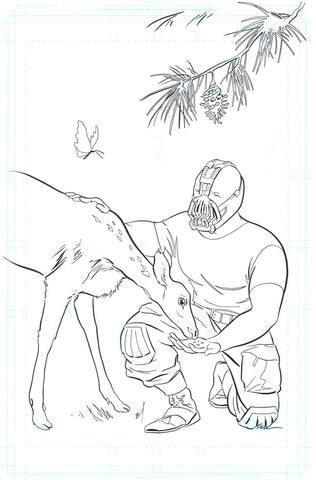 Bane and Friend original ink drawing