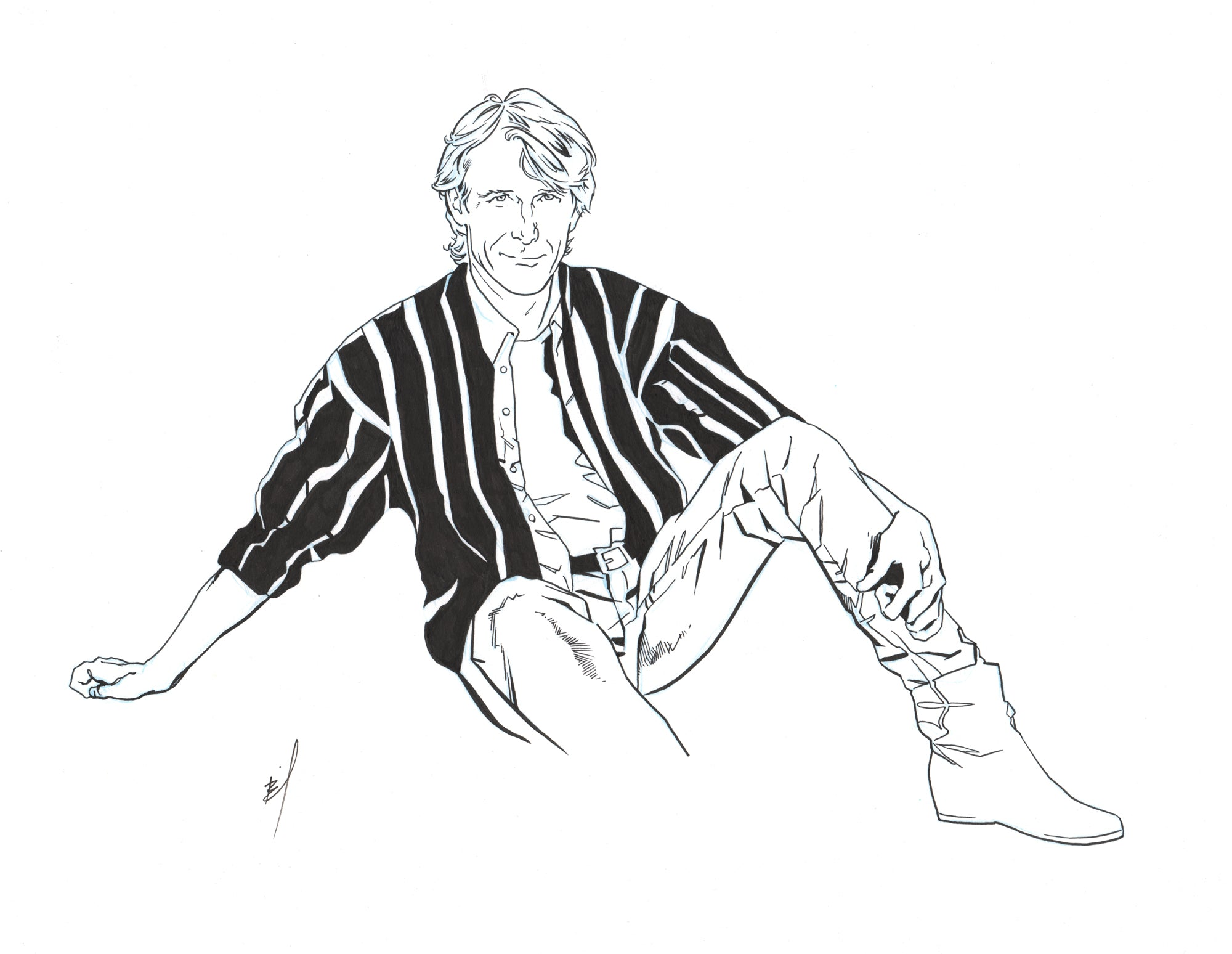 Drawing of Michael Bay being cool