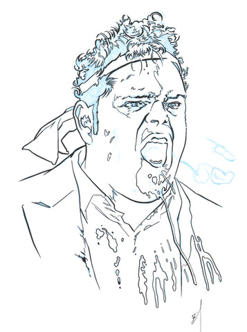 Drawing of Josh Gad spitting blood