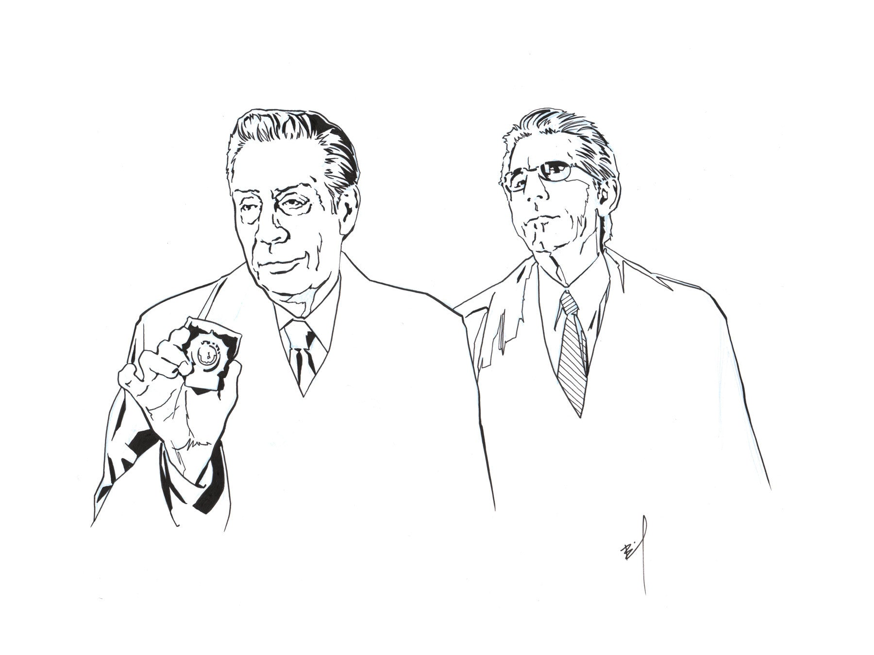 """Briscoe and Munch"" original ink drawing"