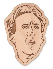 Nicolas Cage (frightened) laser-cut wood magnet/keychain