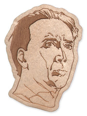 Nicolas Cage (spooky) laser-cut wood magnet/keychain