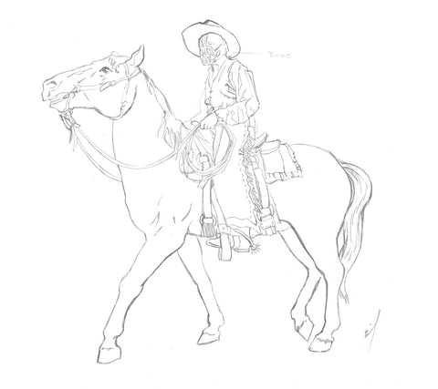 sketch of Bane as a cowboy