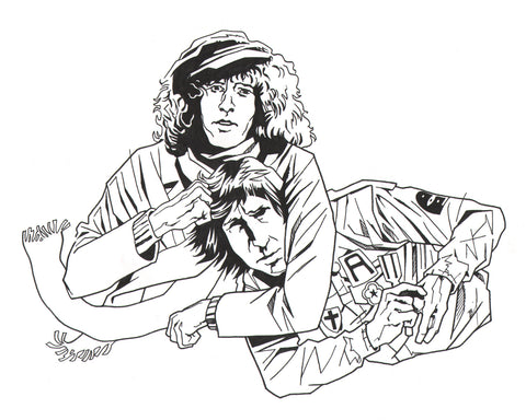 Roger Daltrey giving Pete Townshend a noogie ink drawing