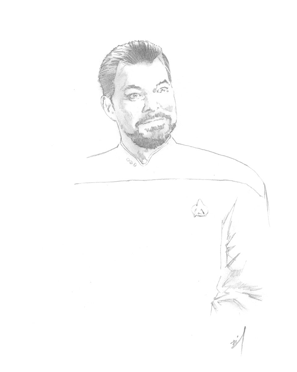 Delicate sketch of Commander Riker