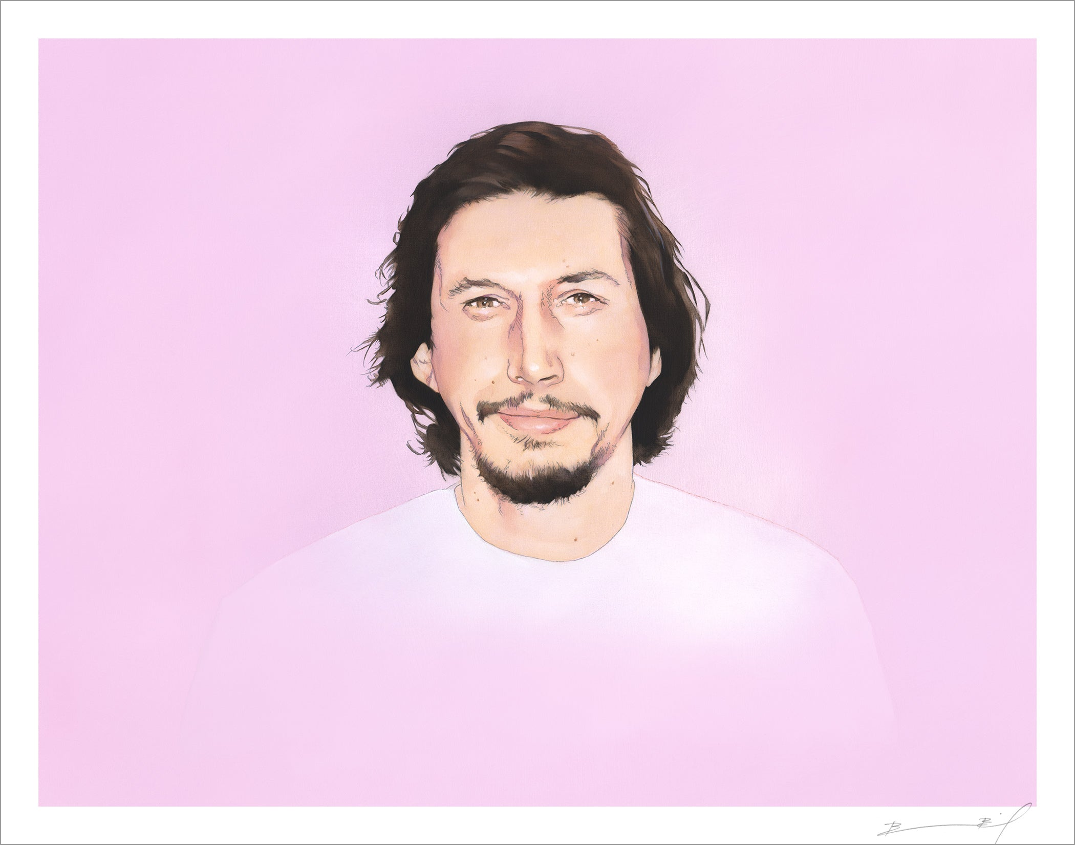 """Portrait of a Man Who is Named Adam Driver"" signed print"
