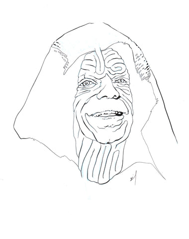 The Emperor face maze original ink drawing
