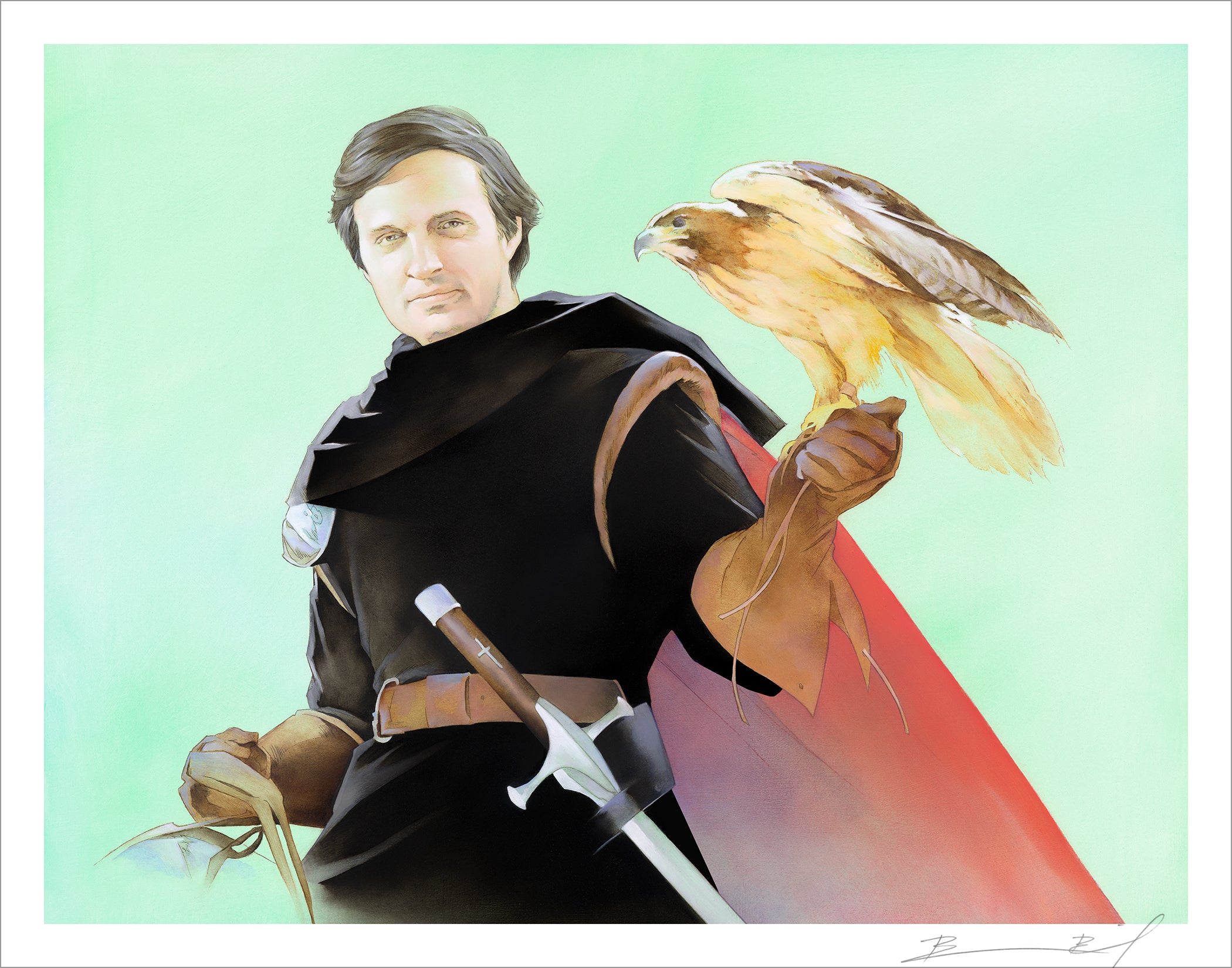 """The Falconer"" signed print"