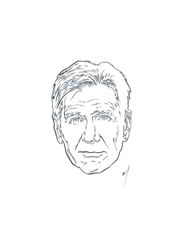 """Harrison Fordface"" original ink drawing"