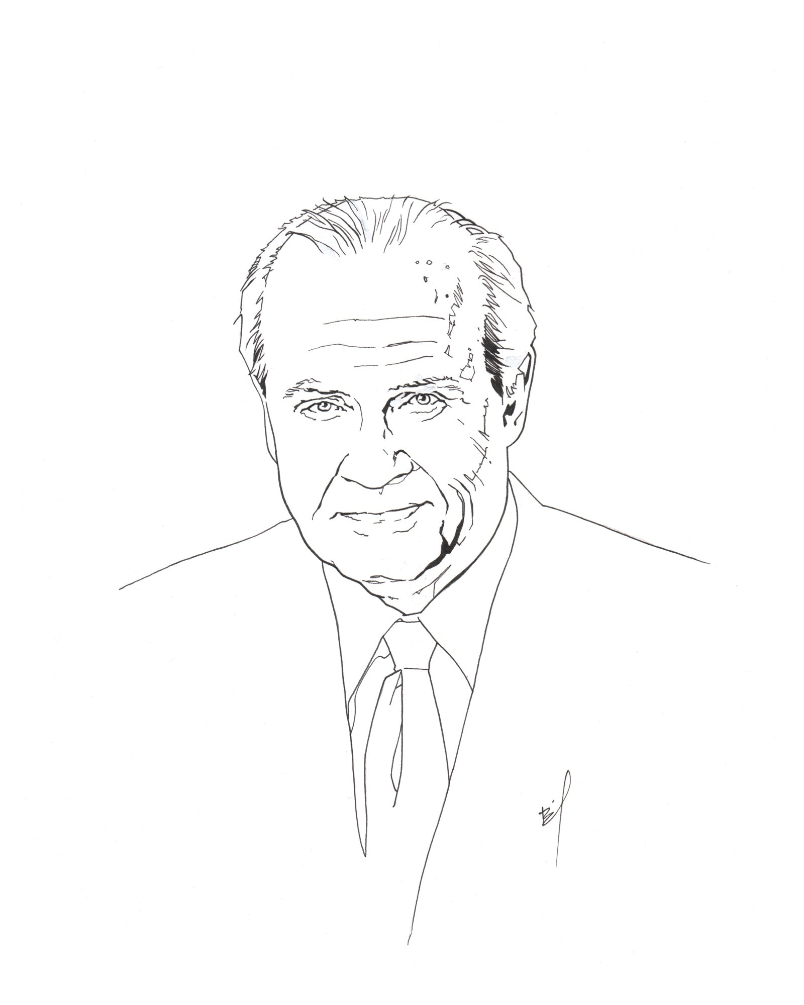 ink drawing of Fred Thompson