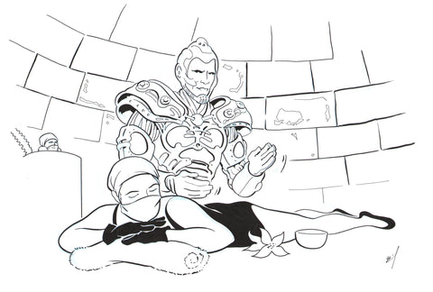 Drawing of Mr. Freeze giving a massage