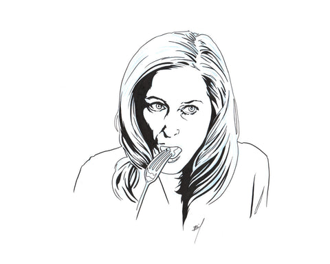 """Gillian Anderson Eating Food"" original ink drawing"