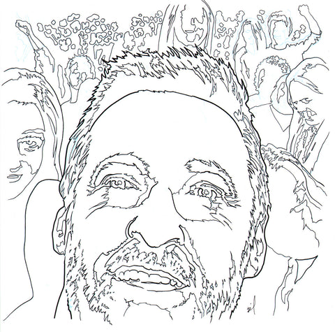 Hugh Jackman at a Beyonce concert ink drawing