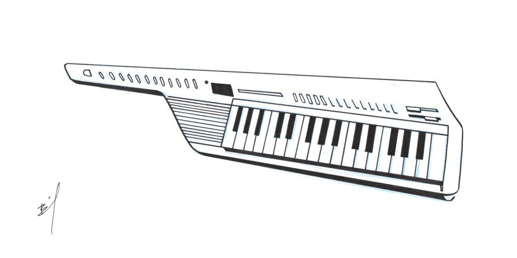 Ink drawing of a keytar