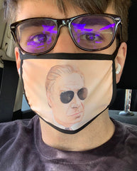 """Man Wearing Sunglasses"" face mask"
