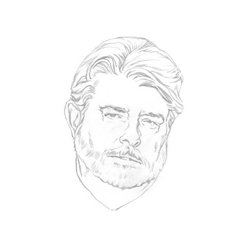 Tiny drawing of George Lucas