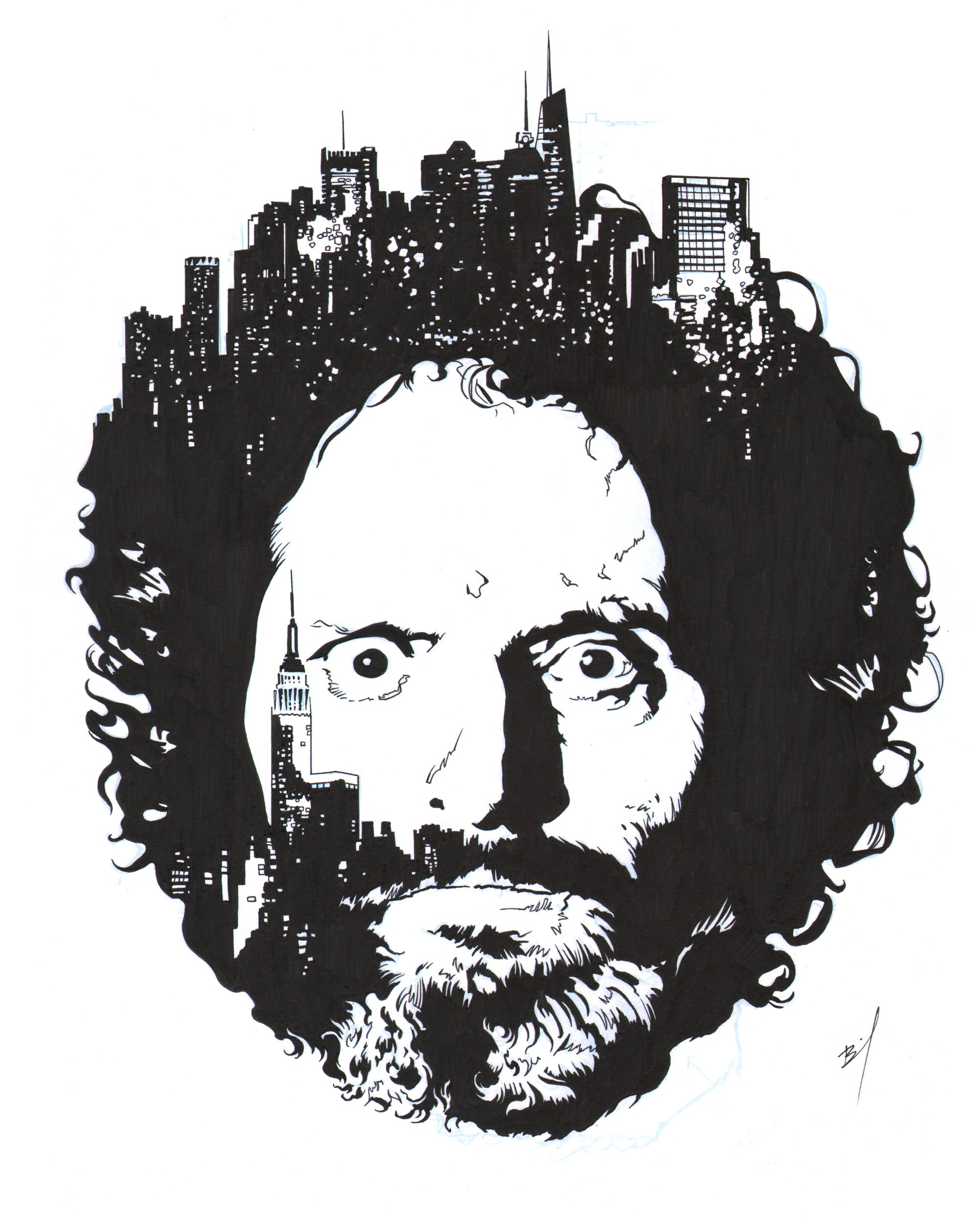 Drawing of Jason Mantzoukas with some buildings in his hair