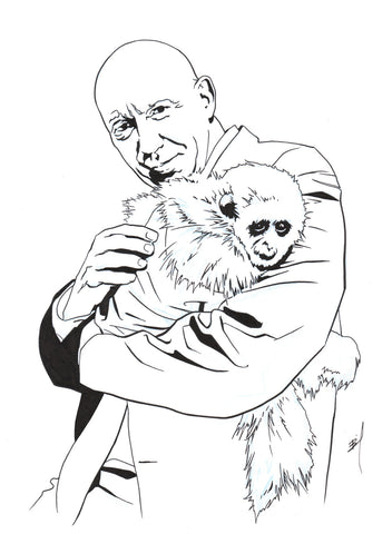 """Cragen and Friend"" original ink drawing"