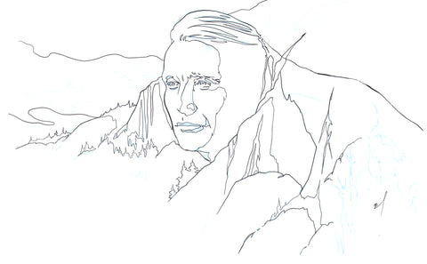 Mads Mountain ink drawing