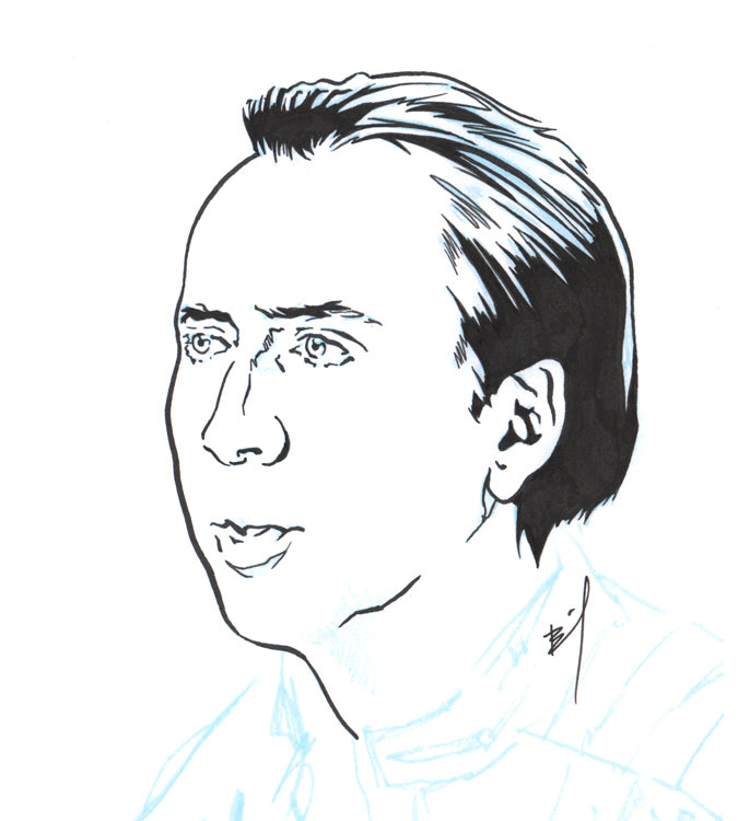 Drawing Of Nicolas Cage Staring Off Into The Distance Brandon Bird