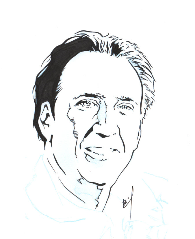 Drawing of Nicolas Cage smiling