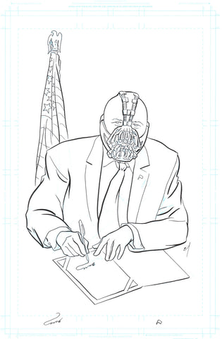 President Bane original ink drawing