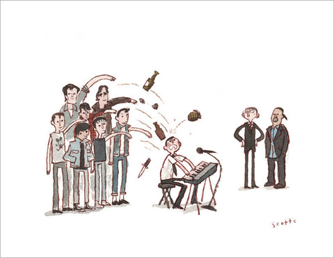 "Scott C. ""A Band of Teens Attacks a Piano Student"" signed print"