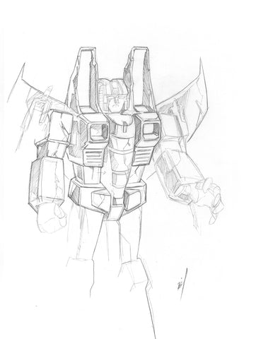 pencil sketch of Starscream's corpse