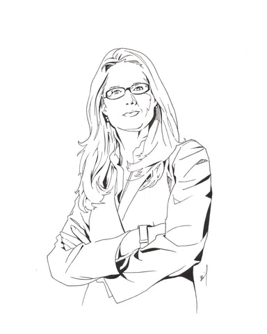 ink drawing of Stephanie March