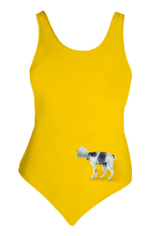 """Brave Cone Dog"" one-piece swimsuit"