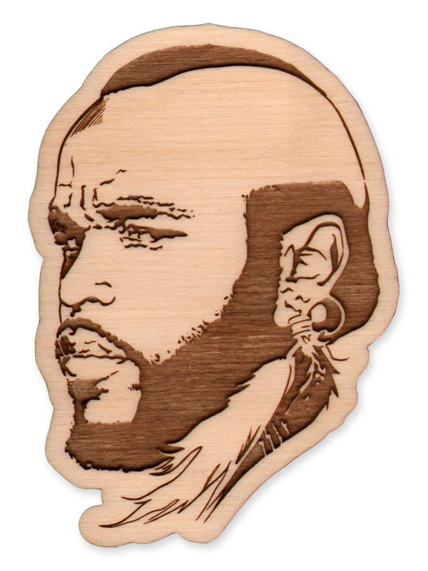 Mr. T laser-cut wood magnet/keychain