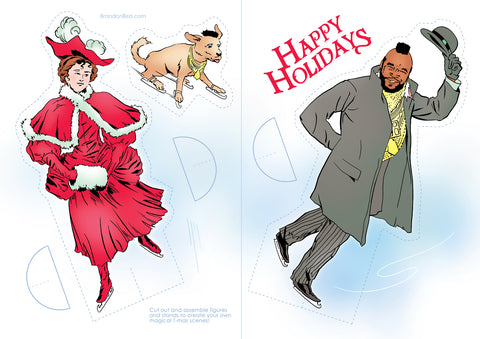 """T-mas on Ice"" paper doll greeting cards"