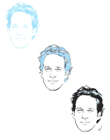 """Three Paul Rudds"" original ink drawing"
