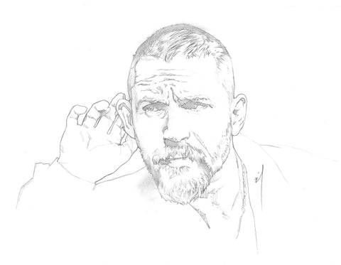 Tom Hardy listening carefully pencil sketch