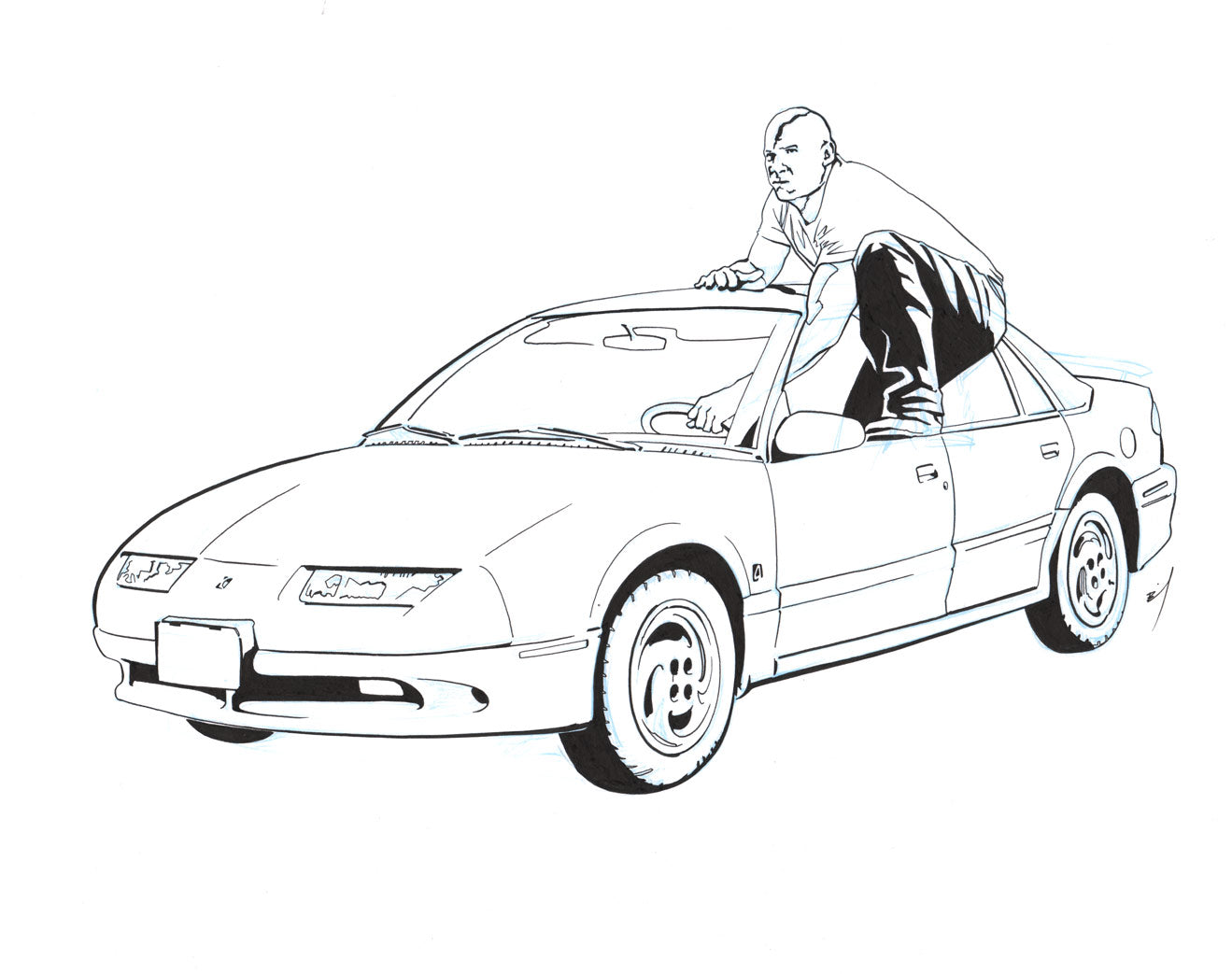 Vin Diesel driving a Saturn original ink drawing