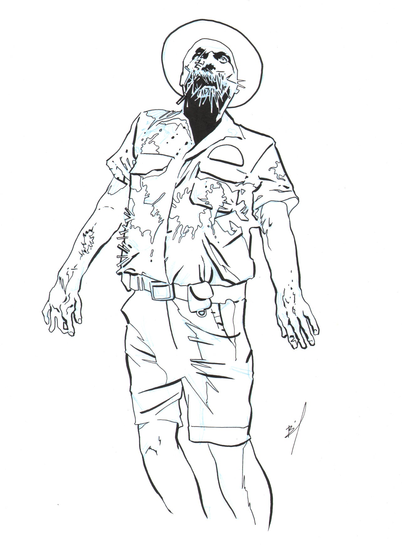 Drawing of a walking zombie
