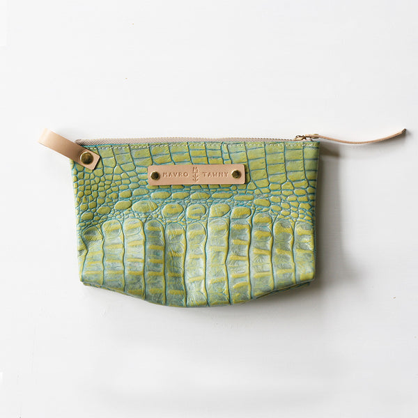 Embossed Zip Pouch - GREEN