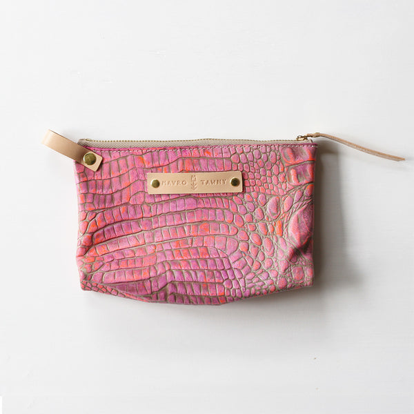 Embossed Zip Pouch - PINK